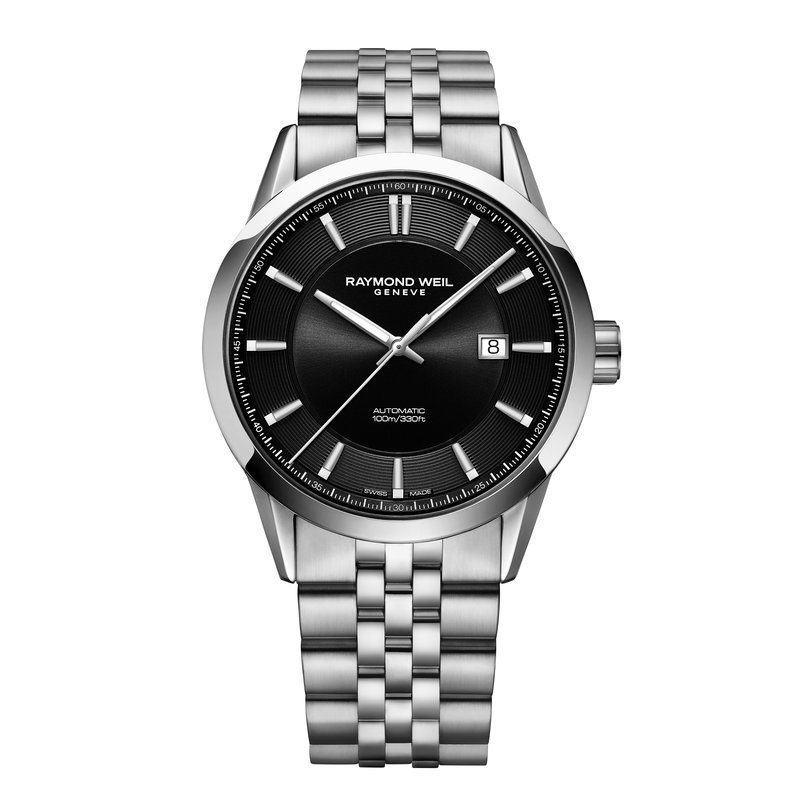 Raymond Weil Men's Automatic Date Watch, 42mm, stainless steel, black dial