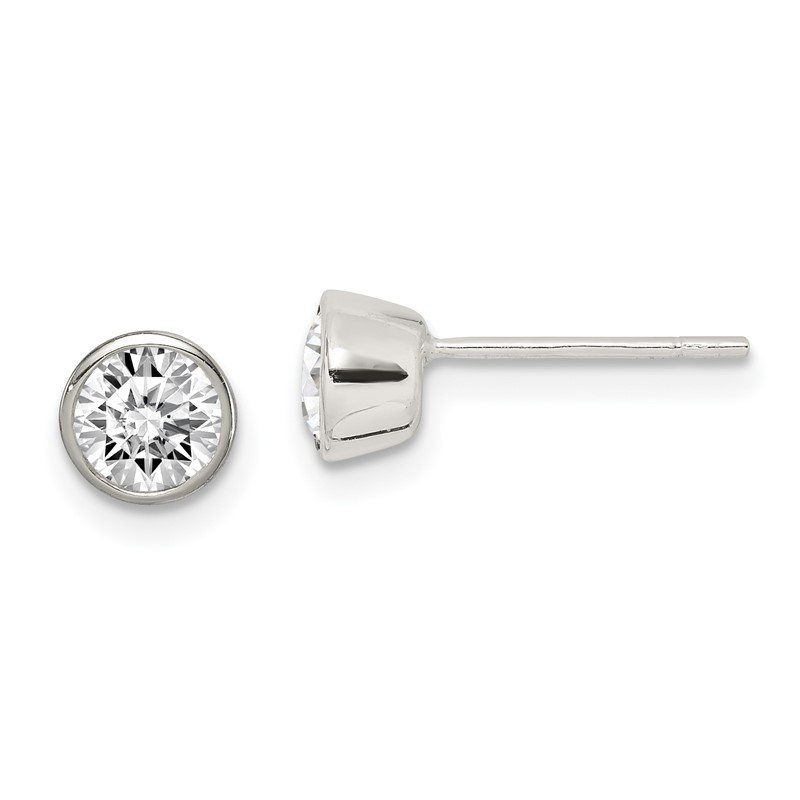 Quality Gold Sterling Silver 5mm CZ Round Bezel Stud Earrings