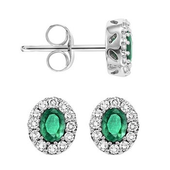 14K White Gold Color Ensembles Halo Prong Emerald Earrings 1/5CT