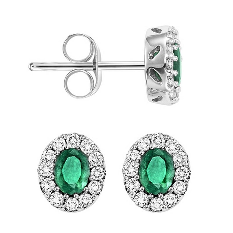 Gems One 14K White Gold Color Ensembles Halo Prong Emerald Earrings 1/5CT