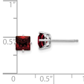 14k White Gold 5mm Princess Cut Garnet Earrings