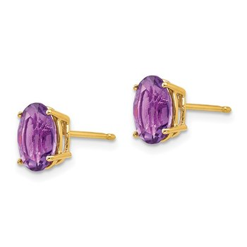 14k 8x6mm Oval Amethyst Earrings