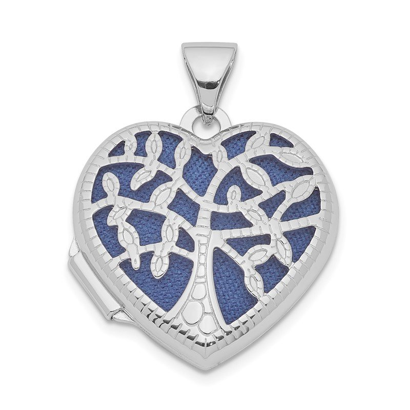 Quality Gold Sterling Silver Rhodium-plated 18mm Filigree Tree Heart Locket