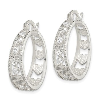 Sterling Silver CZ Diamond-cut Heart Hoop Earrings