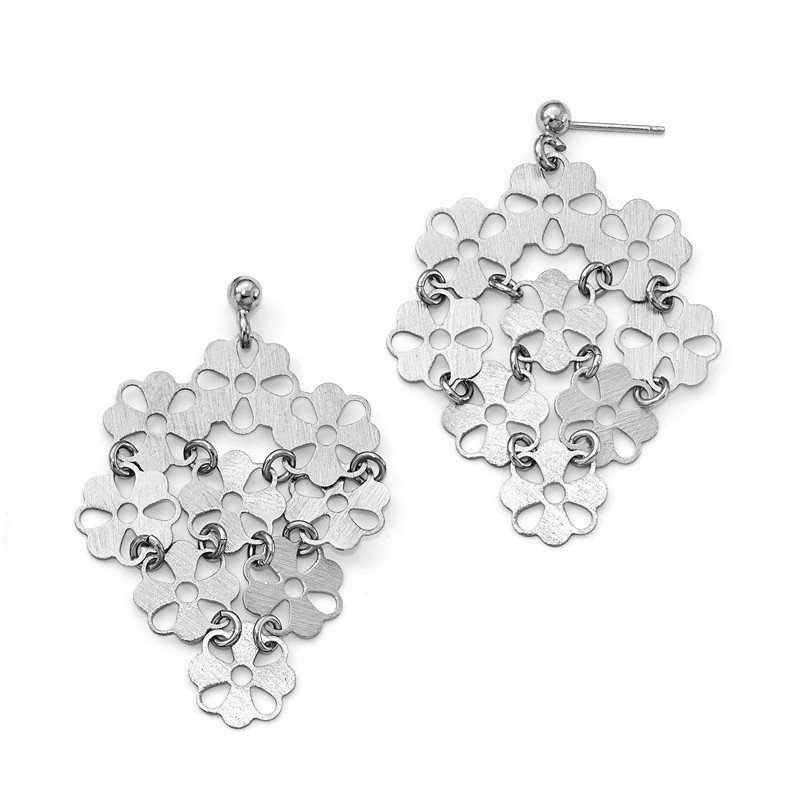 Leslie's Leslie's Sterling Silver Brushed Flower Post Dangle Earrings