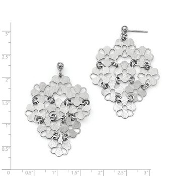 Leslie's Sterling Silver Brushed Flower Post Dangle Earrings
