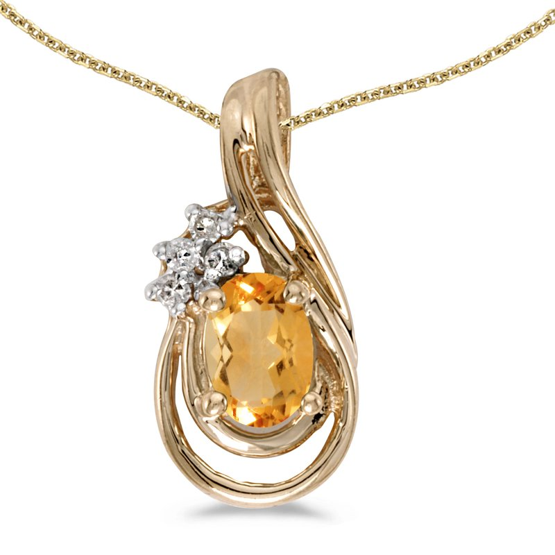 Color Merchants 10k Yellow Gold Oval Citrine And Diamond Teardrop Pendant