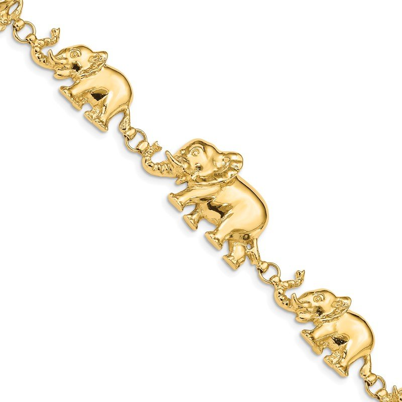 Quality Gold 14k Graduated Elephant Bracelet