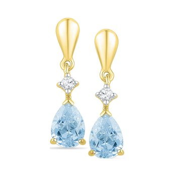 10k Yellow Gold Lab-Created Blue Swiss Topaz & Diamond Dangle Earrings 1-3/4 Cttw