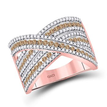 10kt Rose Gold Womens Round Brown Color Enhanced Diamond Crossover Ring 1.00 Cttw