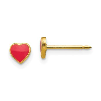 Inverness 24k Plated Red Enamel Heart Earrings