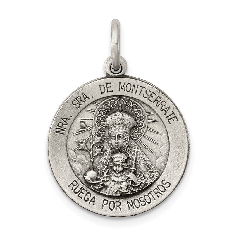 Quality Gold Sterling Silver Antiqued Lady Of Montserrate Medal