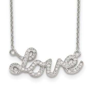 Sterling Silver Polished CZ LOVE 18in Necklace