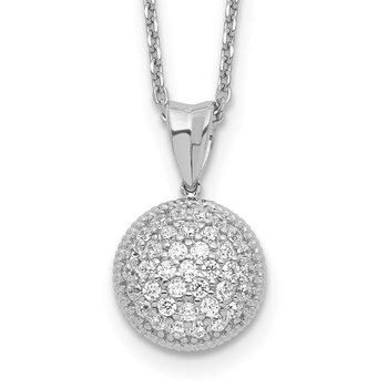 Sterling Silver CZ Circle 18in Necklace