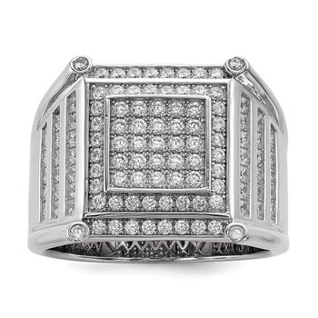Sterling Silver & CZ Brilliant Embers Men's Ring