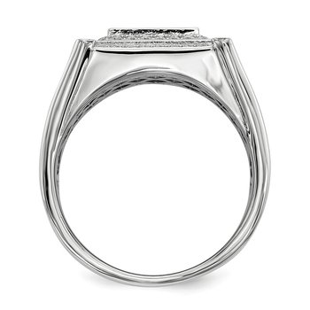 Sterling Silver Brilliant Embers Rhodium-plated CZ Men's Ring