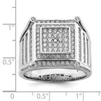 Quality Gold Sterling Silver Brilliant Embers Rhodium-plated CZ Men's Ring