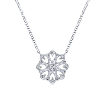 925 Sterling Silver Vintage Inspired Round White Sapphire Pendant Necklace