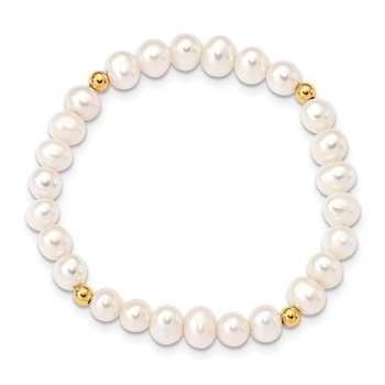14K Madi K 4-5mm White Egg Shape FWC Pearl & Beads Stretch Bracelet