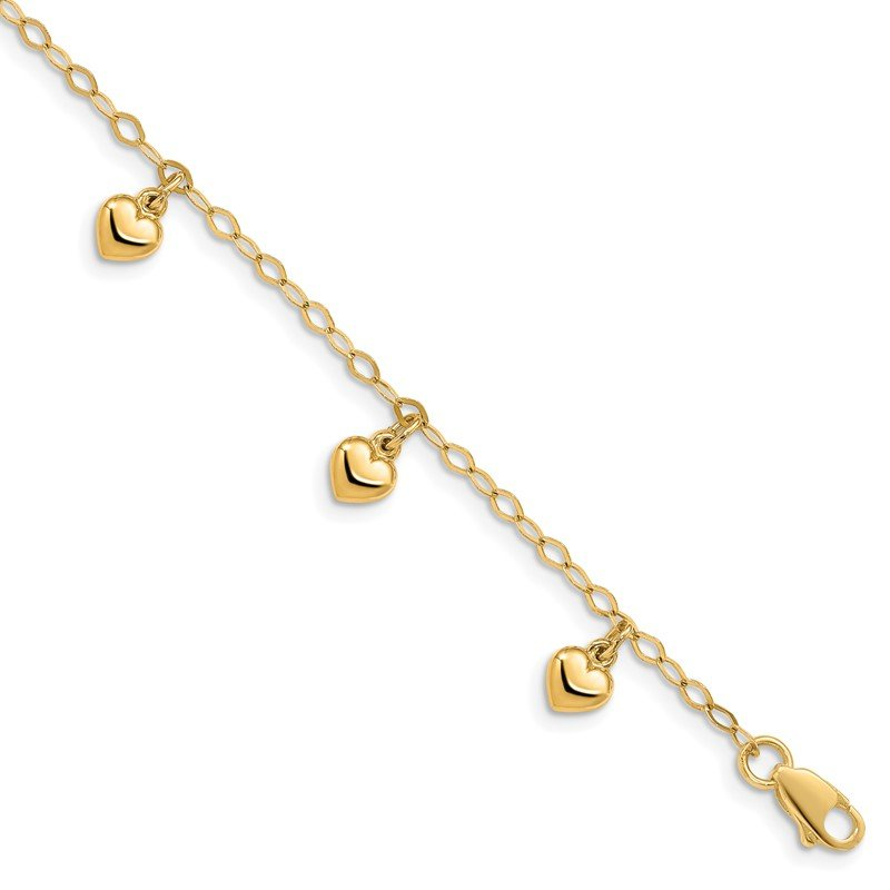 Quality Gold 14K Child's Puffed Heart Charm Bracelet