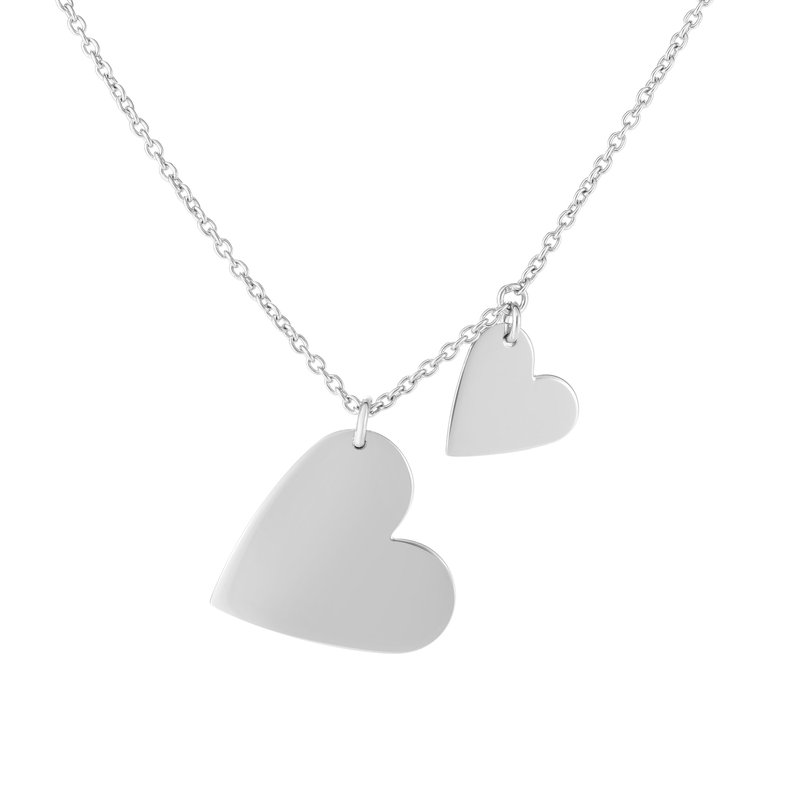 Royal Chain Silver Double Heart Dangle Necklace