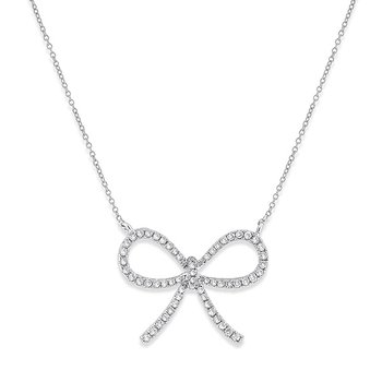 Large Diamond Bow Necklace in 14k White Gold with 59 Diamonds weighing .30ct tw.