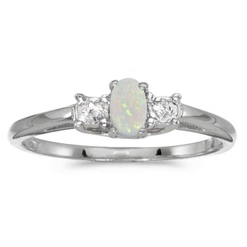 10k White Gold Oval Opal And Diamond Ring