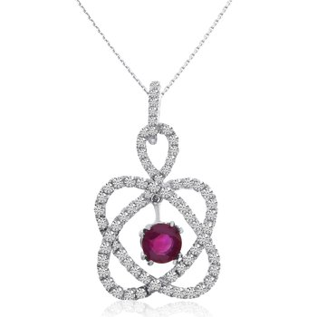 14k White Gold Geometric Ruby and Diamond Pendant