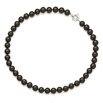 Sterling S Majestik Rh-pl 10-11mm Blk Imitat Shell Pearl Hand Knotted Neckl