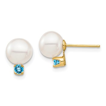 14K 7-7.5mm White Round FW Cultured Pearl Swiss Blue Topaz Post Earrings