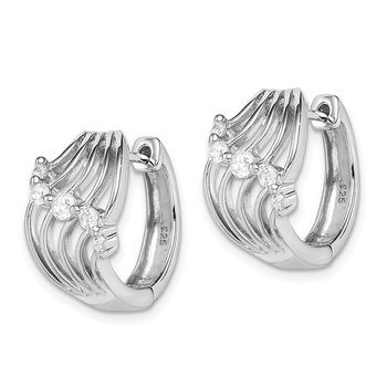 Sterling Silver Rhodium Plated CZ Hinged Hoop Earrings