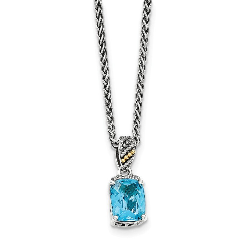 Shey Couture Sterling Silver w/14k Diamond and Blue Topaz Necklace