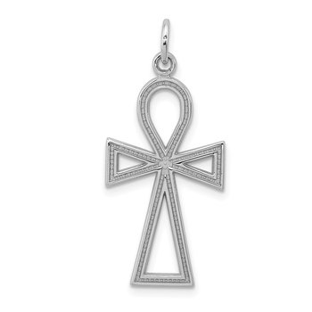 14k White Gold Ankh Cross Pendant