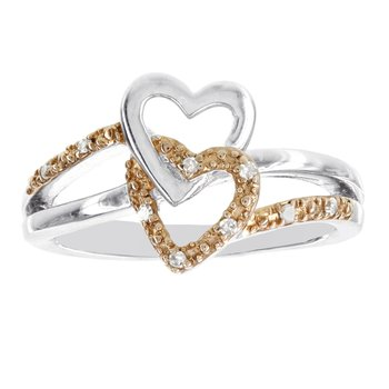 Rose-plated Sterling Silver Diamond Accent Double Heart Ring