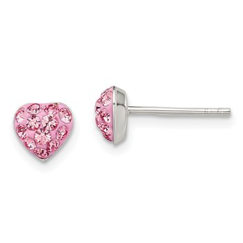 Sterling Silver Pink Preciosa Crystal Heart Earrings