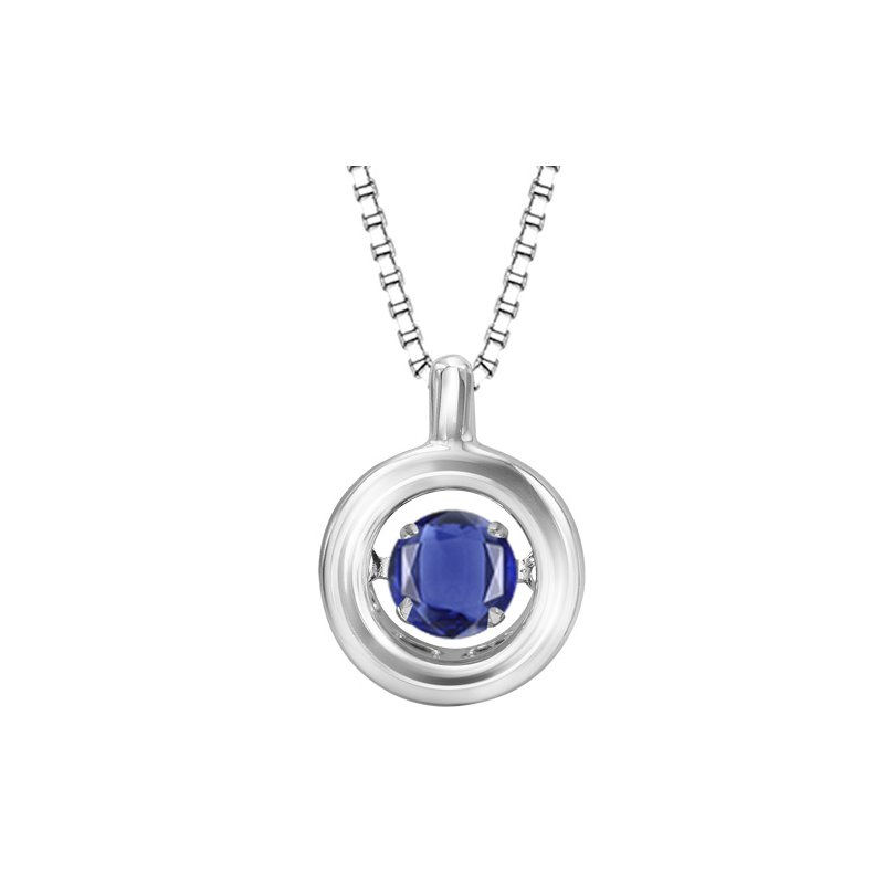 Necker's Signature Collection Silver Sapphire Rhythm Of Love Pendant