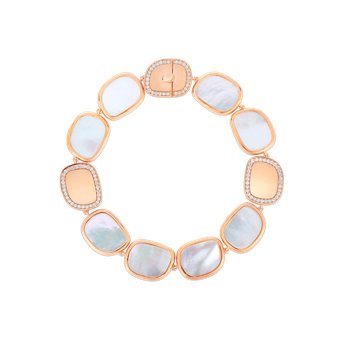 18KT GOLD BRACELET WITH DIAMONDS AND MOTHER OF PEARL