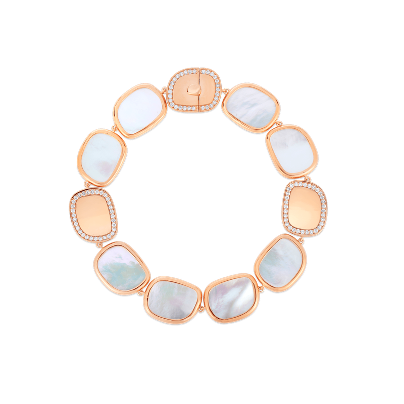 Roberto Coin 18Kt Gold Bracelet With Diamonds And Mother Of Pearl