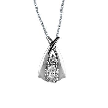 14k White Gold Diamond Ribbon Pendant (.25 carat)