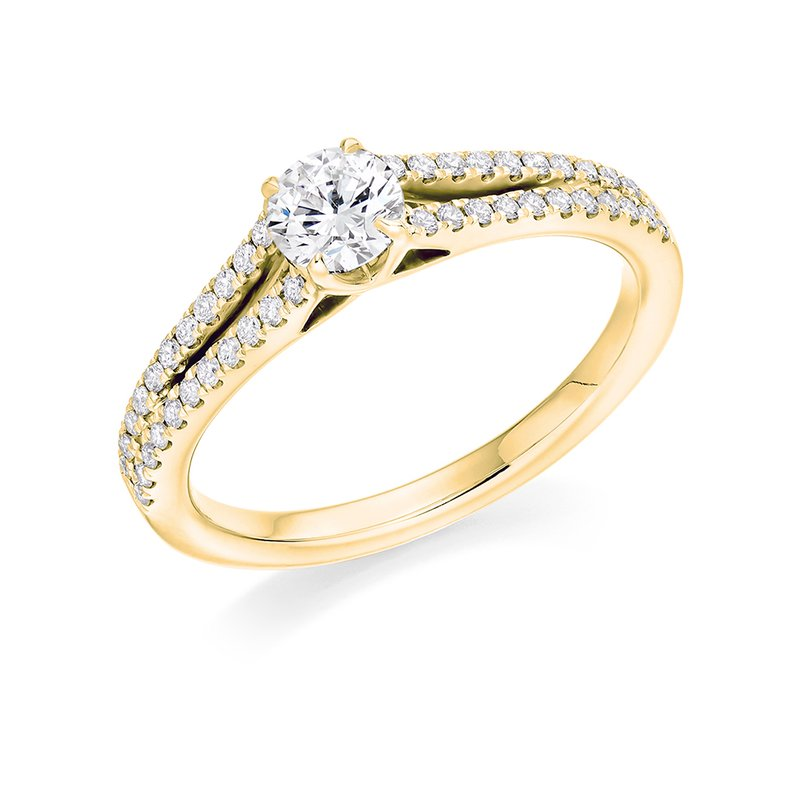 Raphael Solitaire with Diamond Set Shoulders <br>Split Shoulders