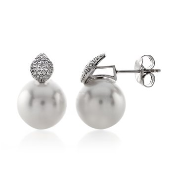 White Pearl and Pave Diamond Stud EARRINGS