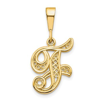 14KY Polished Script Filigree Letter F Initial Pendant