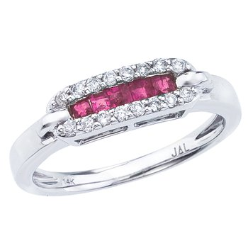 14k White Gold Square Ruby and Diamond Ring
