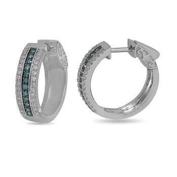 14K WG White and Blue Diamond Hoop Earring with Safe Clasp