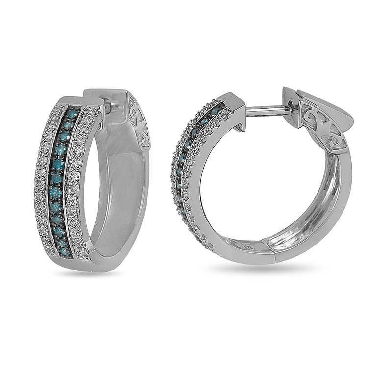 BB Impex 14K WG White and Blue Diamond Hoop Earring with Safe Clasp
