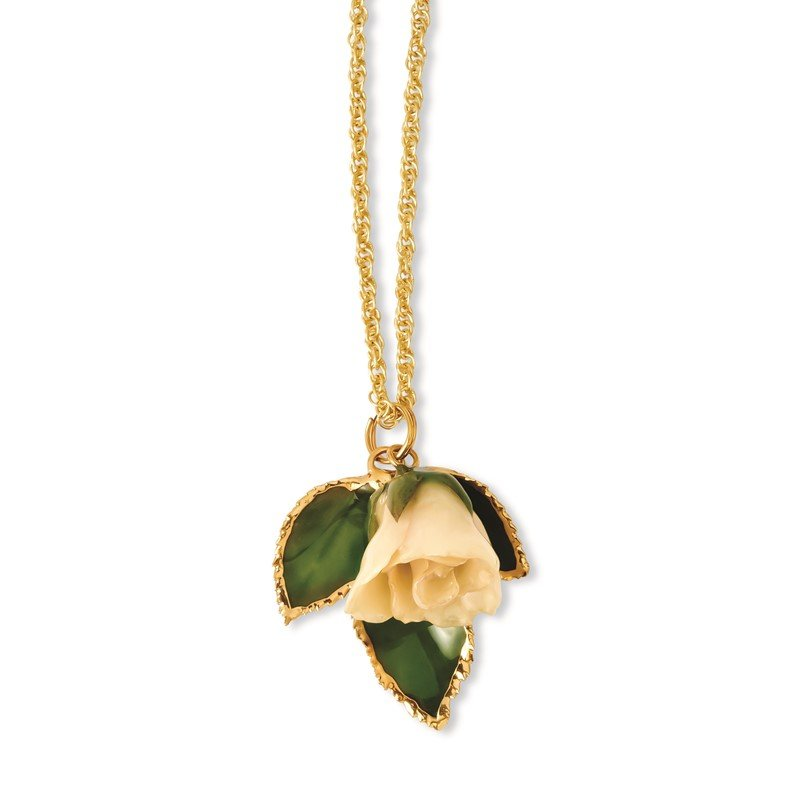 Quality Gold Lacquer Dipped White Rose 24K Gold-Trim Leaf 20in Gold-tone Necklace