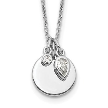 Sterling Silver Rhodium Plated w/1.75in ext. CZ Necklace