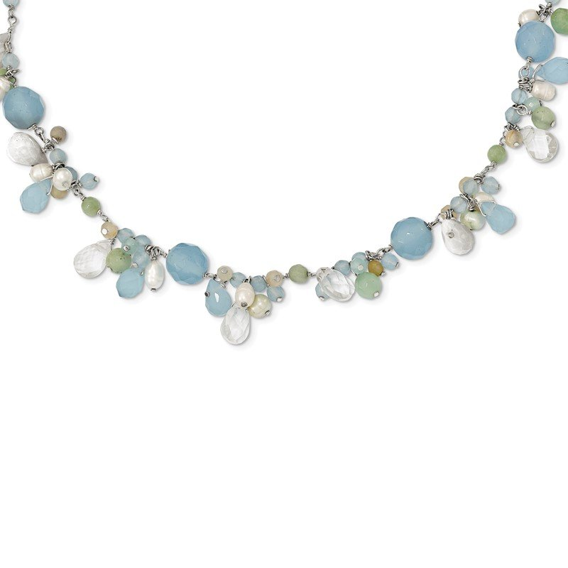 Quality Gold SS Blue Topaz/Crystal/Opalite Crystal/Amazonite/FW Cultured Pearl Neck