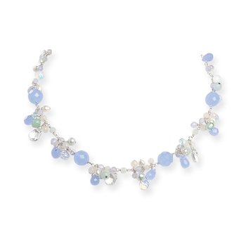 SS Blue Topaz/Crystal/Opalite Crystal/Amazonite/FW Cultured Pearl Neck