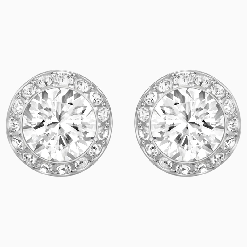 Swarovski Angelic Pierced Earrings, White, Rhodium plated